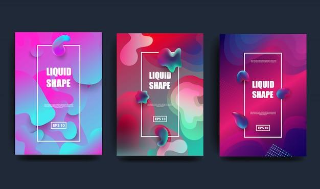 Płynny kolor tła. płynny gradient kształtuje kompozycję. futurystyczne plakaty projektowe.