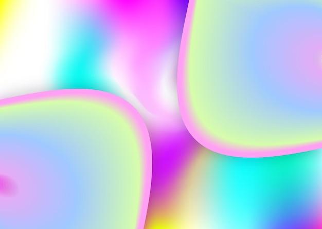 Płynny kształt. żywa siatka gradientu. holograficzne tło 3d z nowoczesną modną mieszanką. tęcza transparent, szablon tapety. płynny kształt tła z płynnymi elementami dynamicznymi.