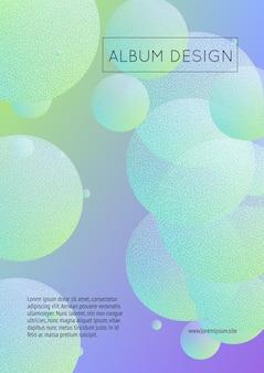 Płynny plakat z okrągłymi kształtami i teksturą punktów rastrowych. gradientowe koła na tle holograficznym. nowoczesny szablon na okładki, banery, ulotki, prezentacje. minimalistyczny płynny plakat w neonowych kolorach.