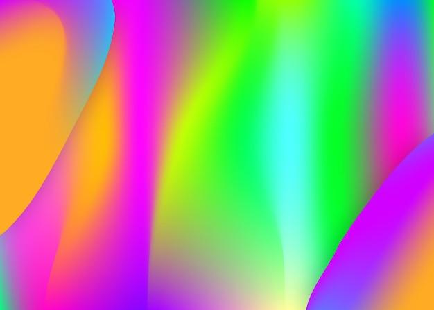 Płynny płyn. holograficzne tło 3d z nowoczesną modną mieszanką. raport koło, układ transparentu. żywa siatka gradientu. płynne płynne tło z dynamicznymi elementami i kształtami.