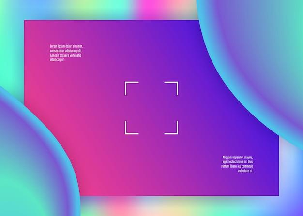 Płynny płyn. żywa siatka gradientu. holograficzne tło 3d z nowoczesną modną mieszanką. fajny baner, kompozycja aplikacji. płynny fluid o dynamicznych elementach i kształtach. wstęp.