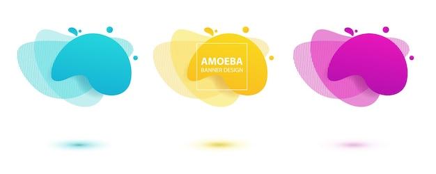 Płynny projekt ameby dynamiczne kolorowe formy ameby nowoczesny szablon banera na ulotkę z logo
