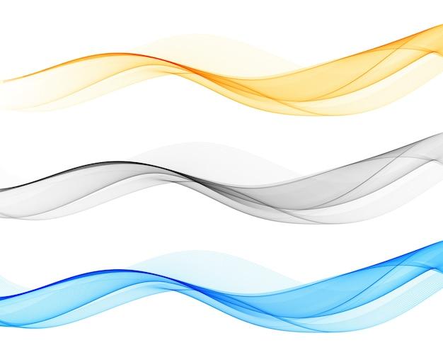 Płynny przepływ fal. fala kolorów. zestaw elementów abstrakcyjnych streszczenie fali
