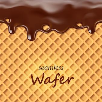 Płynny wafelek i kapiąca czekolada powtarzalna