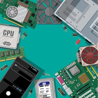 Płyta główna, dysk twardy, procesor, wentylator, karta graficzna, pamięć, śrubokręt i obudowa. zestaw sprzętu do komputera osobistego. ikony elementów komputera.
