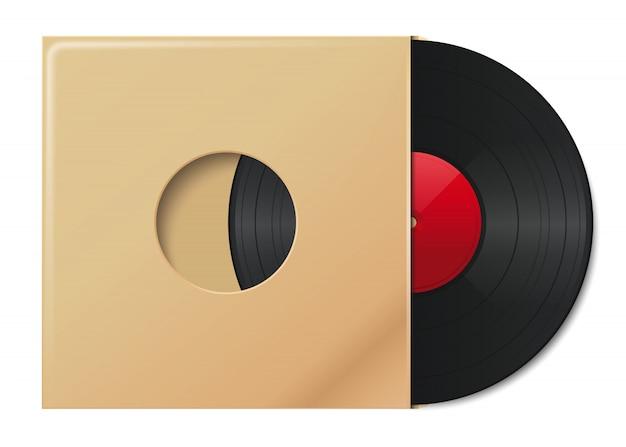 Płyta winylowa w kopercie z miejscem na tekst. talerz w opakowaniu papierowym vintage. winylowa okładka płyty. ilustracja