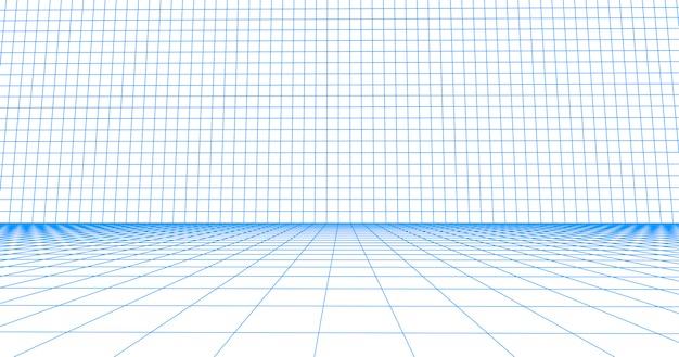 Płytka podłogowa z siatki w perspektywie. szczegółowe niebieskie linie na białym tle.