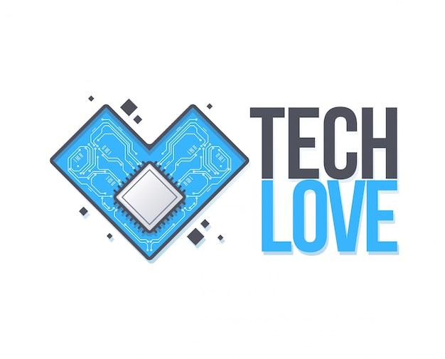 Płytka wektor z sercem. tech love