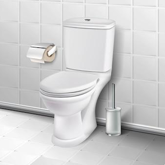 Płytki łazienkowe wnętrze ilustracja. miska ustępowa z papierem toaletowym i szczotką toaletową z uchwytem na podłodze.