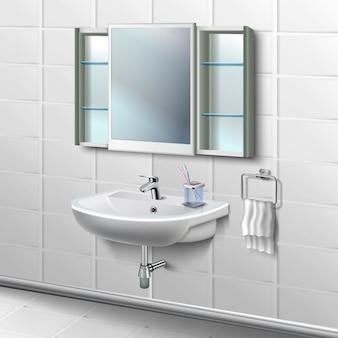 Płytki łazienkowe wnętrze ilustracja. porcelanowa umywalka toaletowa z kranem i białym ręcznikiem do powieszenia z boku oraz filiżanką ze szczotkami i lustrem z półkami.