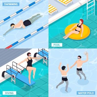 Pływackiego basenu isometric set z pikowaniem i ludźmi bawić się wodnego polo, odosobniona wektorowa ilustracja