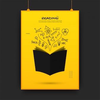 Pływająca książka z ikonami konspektu na żółtym tle, powrót do szkoły plakat
