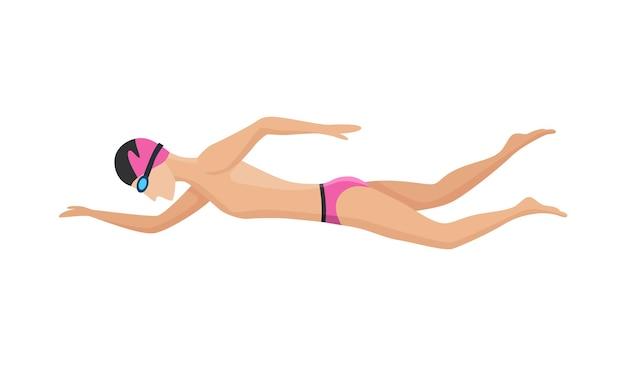 Pływająca postać pływających mężczyzn w stroju kąpielowym, czapce i okularach. ludzie w akcji pozują lub uprawiają sporty wodne. kolorowa ilustracja wektorowa w stylu kreskówka na białym tle