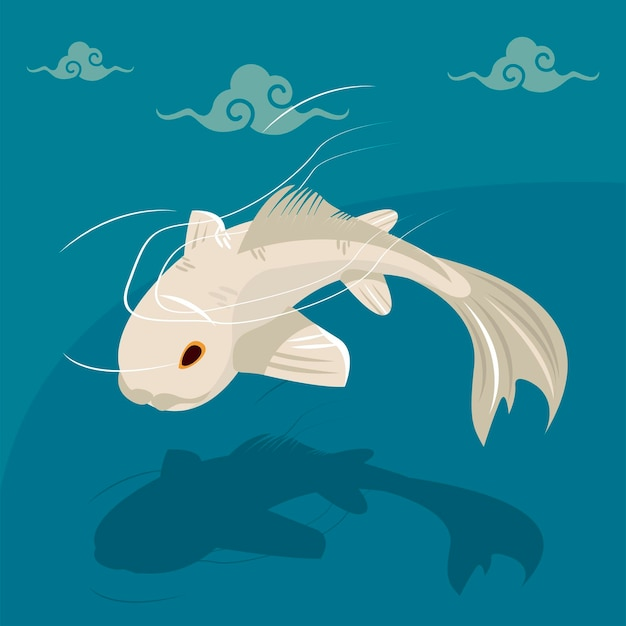 Pływające białe ryby koi