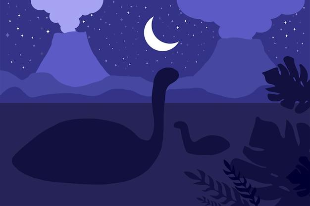 Pływające dinozaury. nocna scena natury. panorama wulkanów. wektor