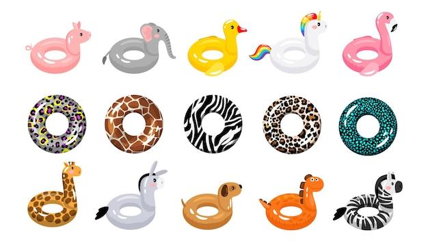Pływające pierścienie. obręcz gumowa do pływania, zwierzęca i klasyczna.