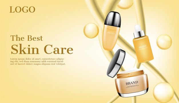 Pływające produkty do pielęgnacji skóry z reklamą bąbelków