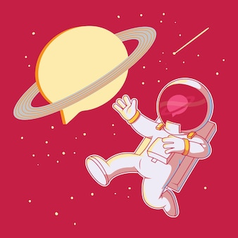 Pływający astronauta z ilustracją planety wiadomości. technologia, komunikacja