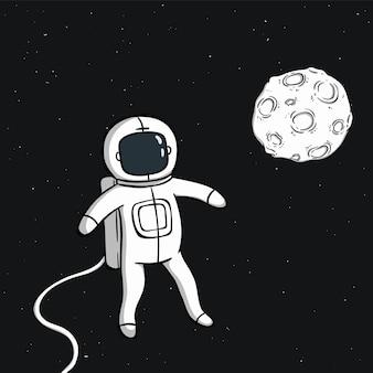 Pływający ładny astronauta z księżycem w przestrzeni kosmicznej