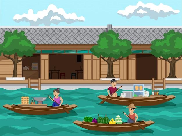 Pływający rynek w tajlandii jest to rynek społeczności nad rzeką. są takie produkty, jak owoce, makaron i padthai.