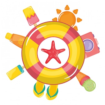 Pływak ratownik z letnich ikon wokół