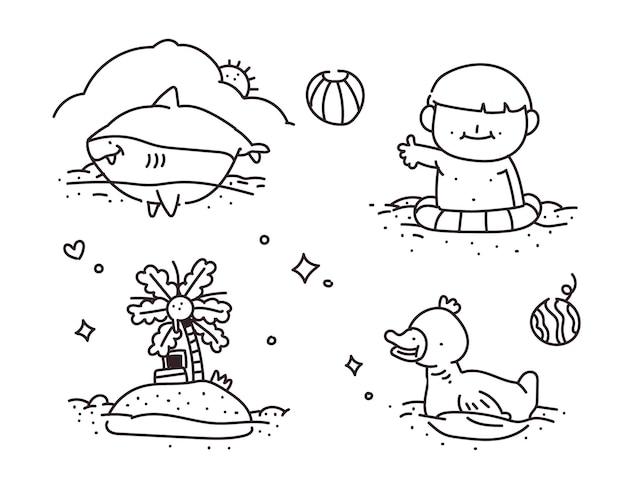 Pływanie doodle. pływanie w stylu rysowania