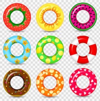 Pływanie pierścień kolorowe gumowe zabawki realistyczne ikony. motyw letni, wodny i plażowy, płaski zestaw lifebuoy. pierścień realistyczne kolorowe gumowe zabawki pływać ikony.