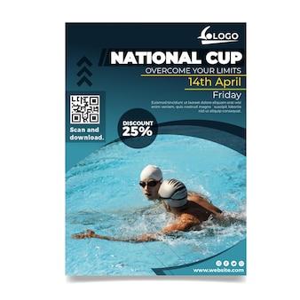 Pływanie pionowy szablon ulotki