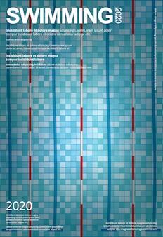 Pływanie sportowe plakat projekt szablonu ilustracji
