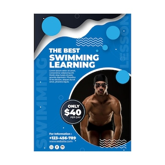 Pływanie szablon ulotki ze zdjęciem