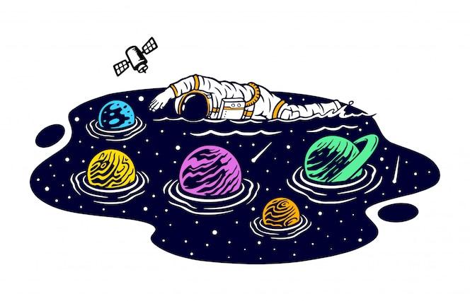 Pływanie w przestrzeni ilustracji