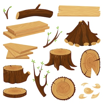 Pnia drewna. ułożone drewno opałowe, pnie drzew i stos drewna na białym tle zestaw