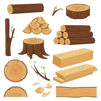Pnie drewna ułożone drewno, gałązka tułowia i gałązki do drewna opałowego. pniak, stare drewniane deski kreskówka na białym tle zestaw