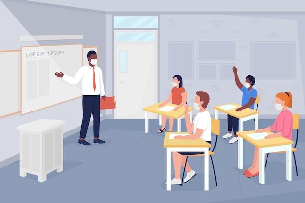 Po covid szkole lekcji płaski kolor ilustracji wektorowych. studiowanie i dyskutowanie. uczeń odpowiada na pytanie. nauczyciel i uczniowie w maskach postaci z kreskówek 2d z wnętrzem na tle