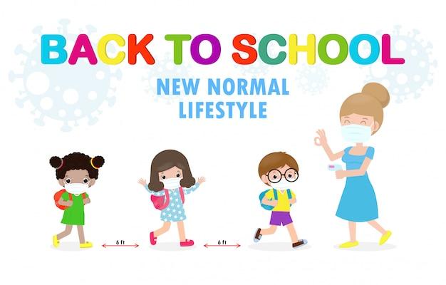 Po powrocie do szkoły nowa koncepcja normalnego stylu życia nauczyciel mierzy temperaturę uczniów w masce medycznej, a dystans społeczny chroni koronawirusa 2019-ncov zdrowe tło