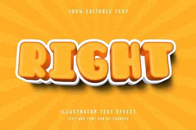 Po prawej, 3d edytowalny tekst efekt żółty pomarańczowy nowoczesny cień wzór stylu