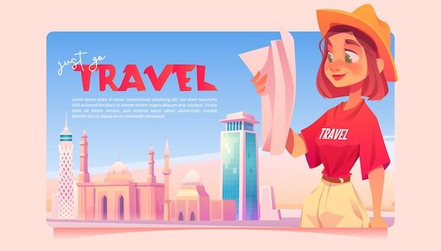Po prostu idź podróżować kreskówka baner dziewczyna ucząc się mapy