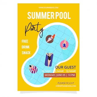 Po prostu letni basen party plakat szablon