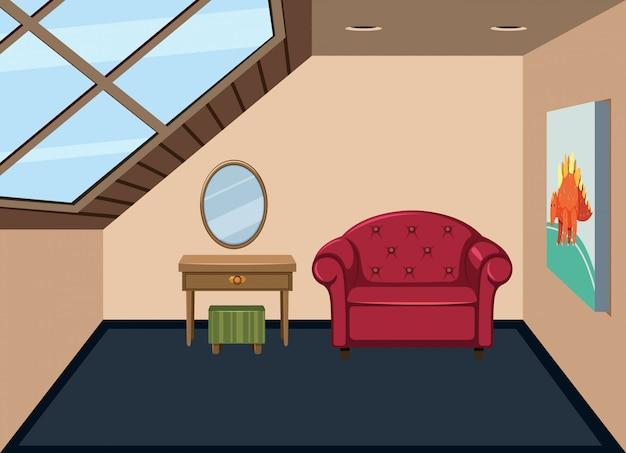 Po prostu wnętrze pokoju na poddaszu