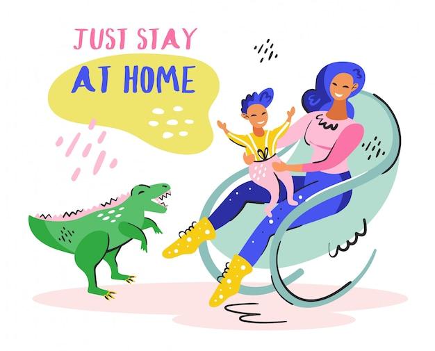 Po prostu zostań w domu. młoda uśmiechnięta dziewczyna z małym dzieckiem na krześle. zielony uroczy dino. samoizolacja pandemiczna koronawirusa, ochrona. płaskie kolorowe wektor ilustracja na białym tle.