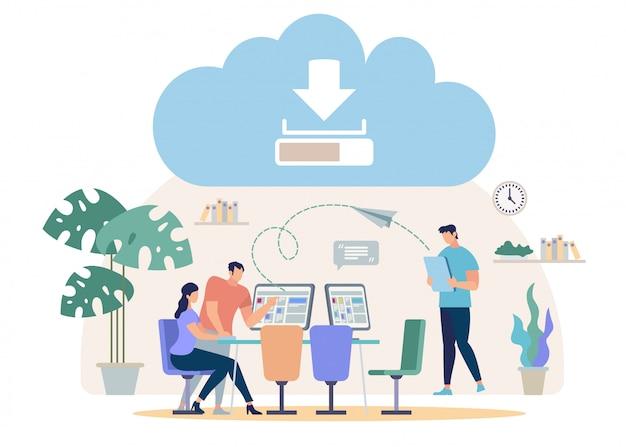 Pobieranie plików z online cloud vector concept