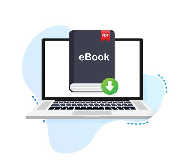 Pobierz książkę. e-book marketing, content marketing, pobieranie ebooków na laptop. ilustracja wektorowa.
