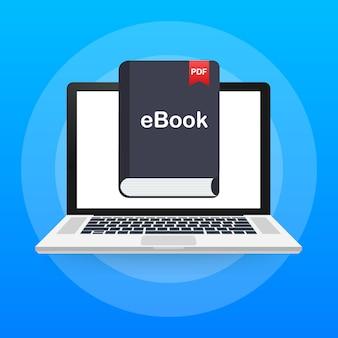 Pobierz książkę. marketing e-booków, content marketing, pobieranie ebooków na laptopie. ilustracja.