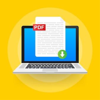 Pobierz przycisk pdf na ekranie laptopa. pobieranie koncepcji dokumentu. plik z etykietą pdf i znakiem strzałki w dół.