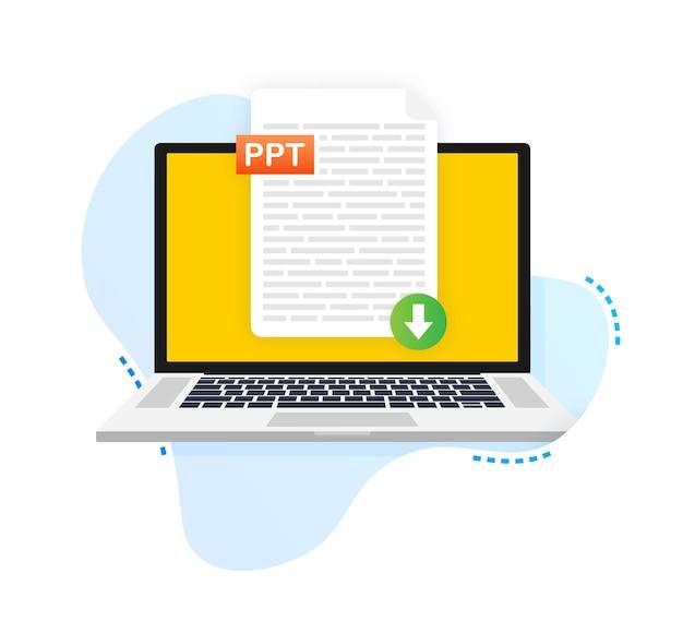 Pobierz przycisk ppt pobieranie koncepcji dokumentu plik z etykietą ppt i znakiem strzałki w dół