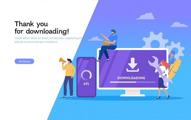 Pobierz stronę aplikacji mobilnej, pobierz ilustrację aktualizacji systemu, stronę docelową aktualizacji systemu operacyjnego, szablon, interfejs użytkownika, sieć, aplikacja mobilna, plakat, baner, ulotka
