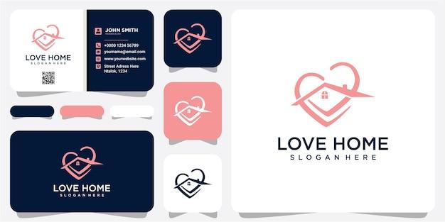 Pobyt w domu koncepcja, ikona serca miłości domu. logo wektor domu i serca. szablon logo love home