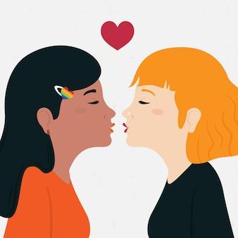 Pocałunek pary lesbijek w stylu płaskiej konstrukcji