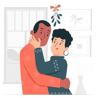 Pocałunek pod ilustracją koncepcji jemioły