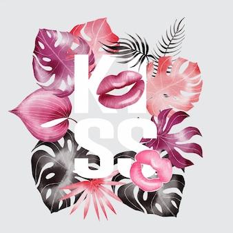 Pocałunek szczęśliwy transparent walentynki z czcionki i tropikalnych liści